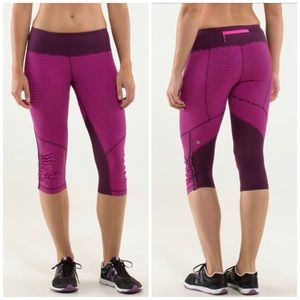 Lululemon Raspberry Stripe Run For Your Life Crop